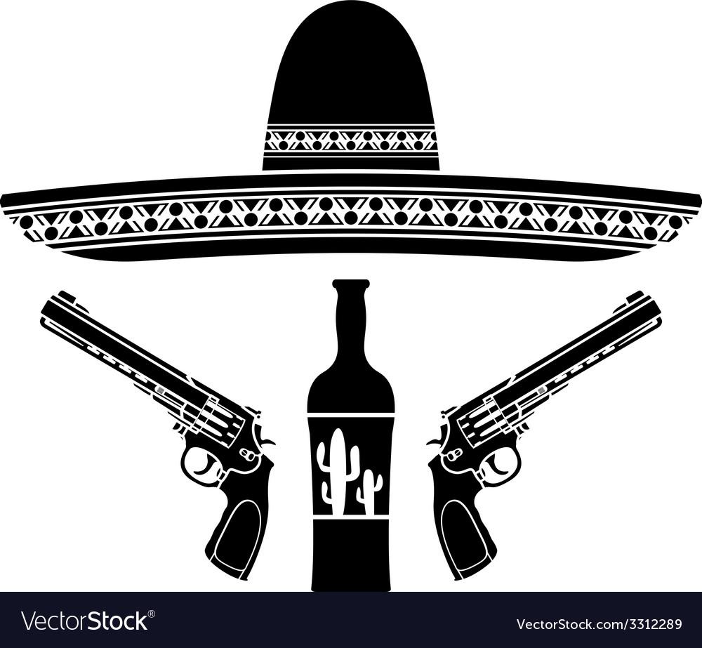 Tequila sombrero and two pistols vector