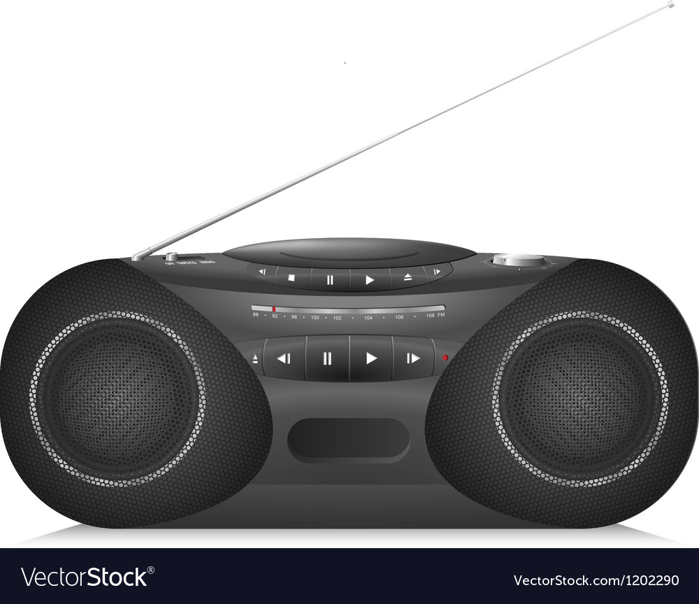 Radio cassette recorder with cd player vector