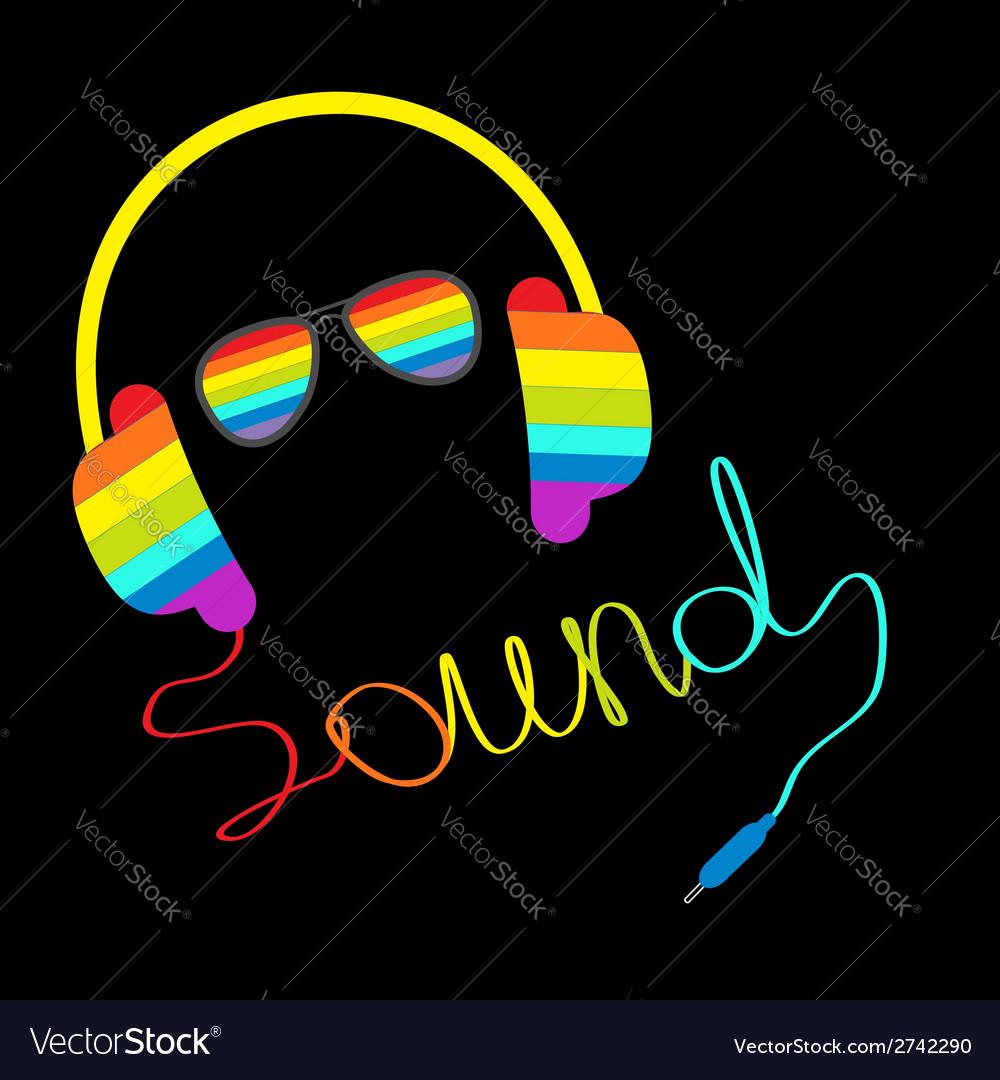 Rainbow headphones cord word sound sunglasses vector