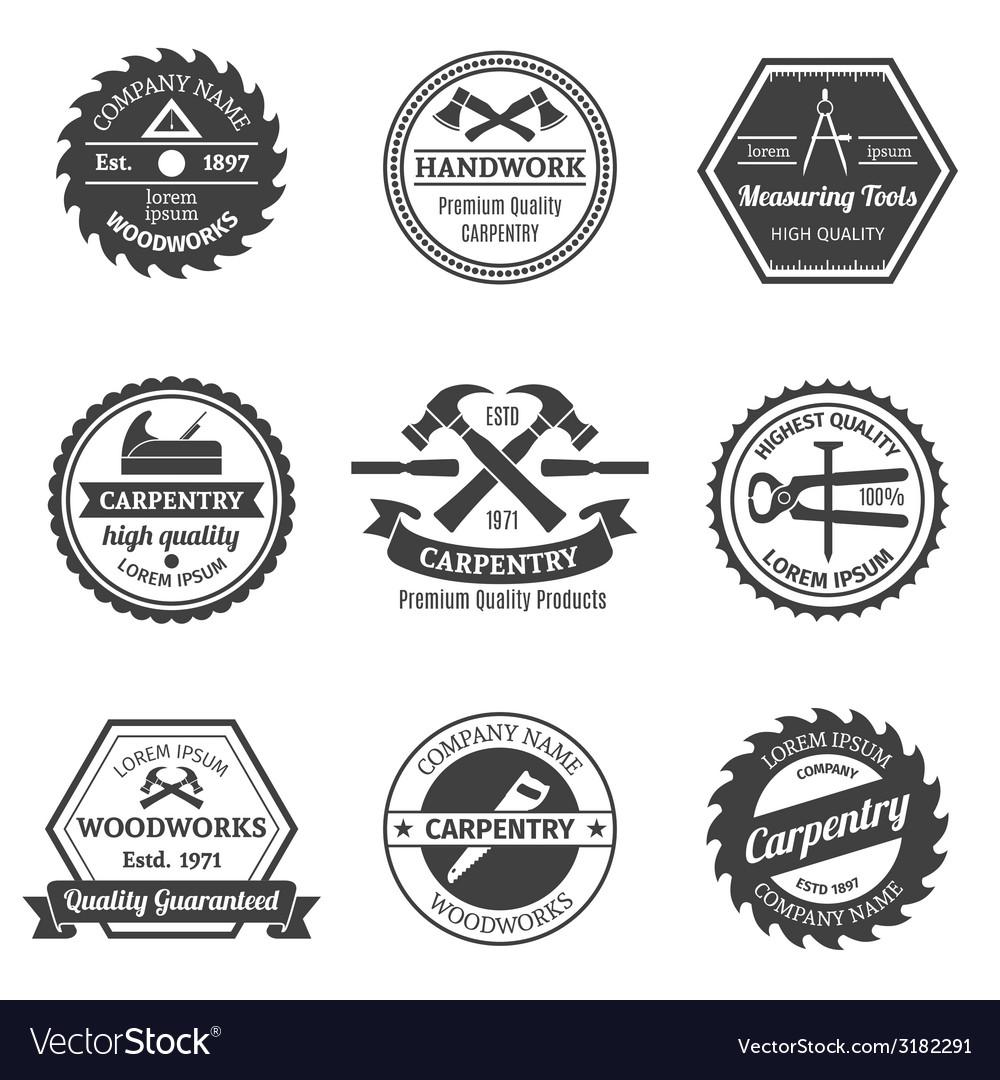 Carpentry emblems set vector