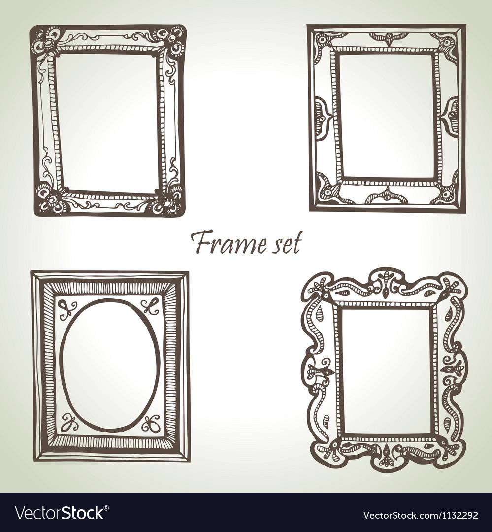 Frame set hand drawn vector
