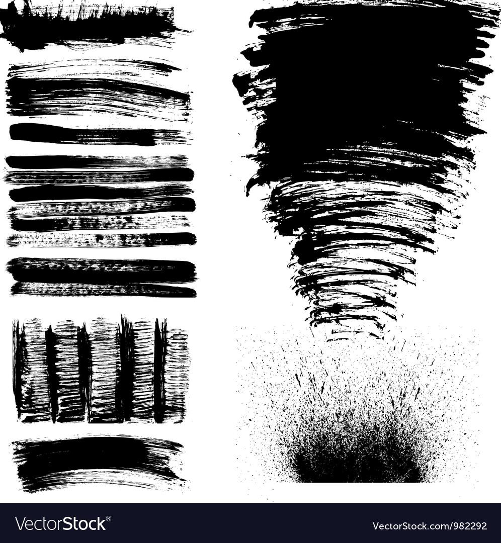 Hand drawn brush strokes vector