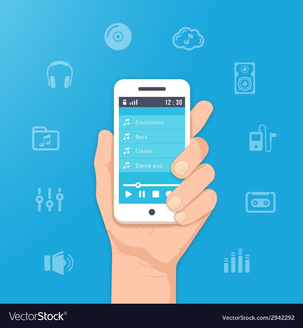 Music app on smartphone vector