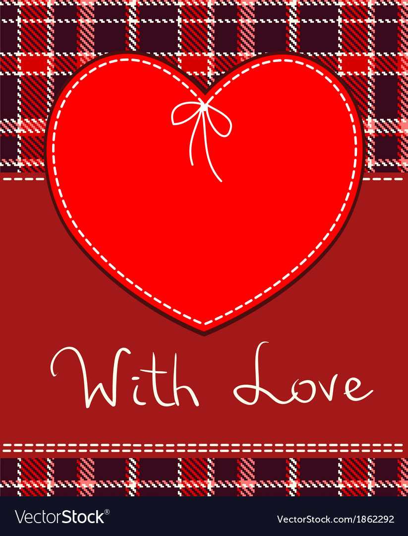 Red heart textile label vector