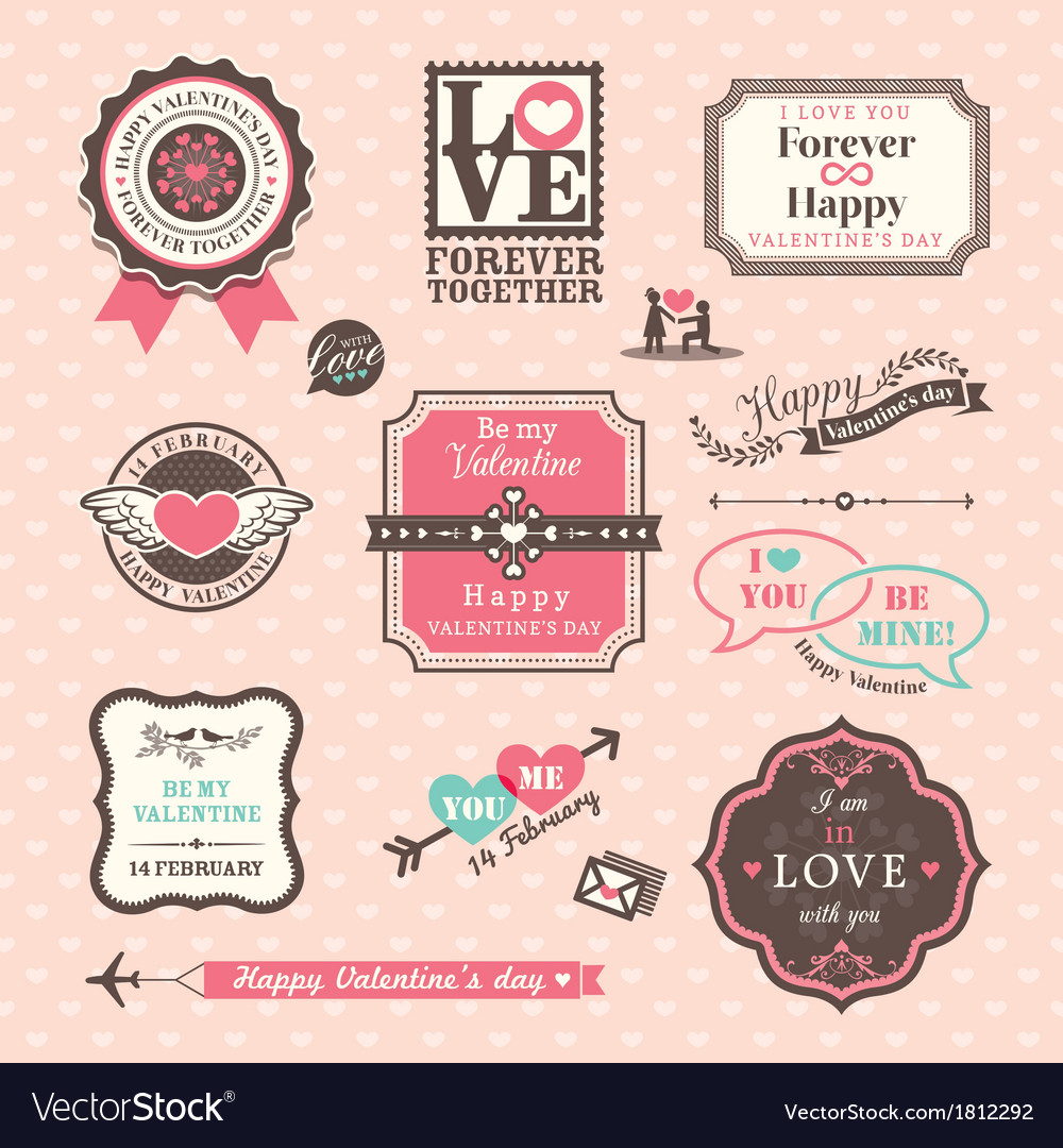 Valentines day elements labels and frames vintage vector