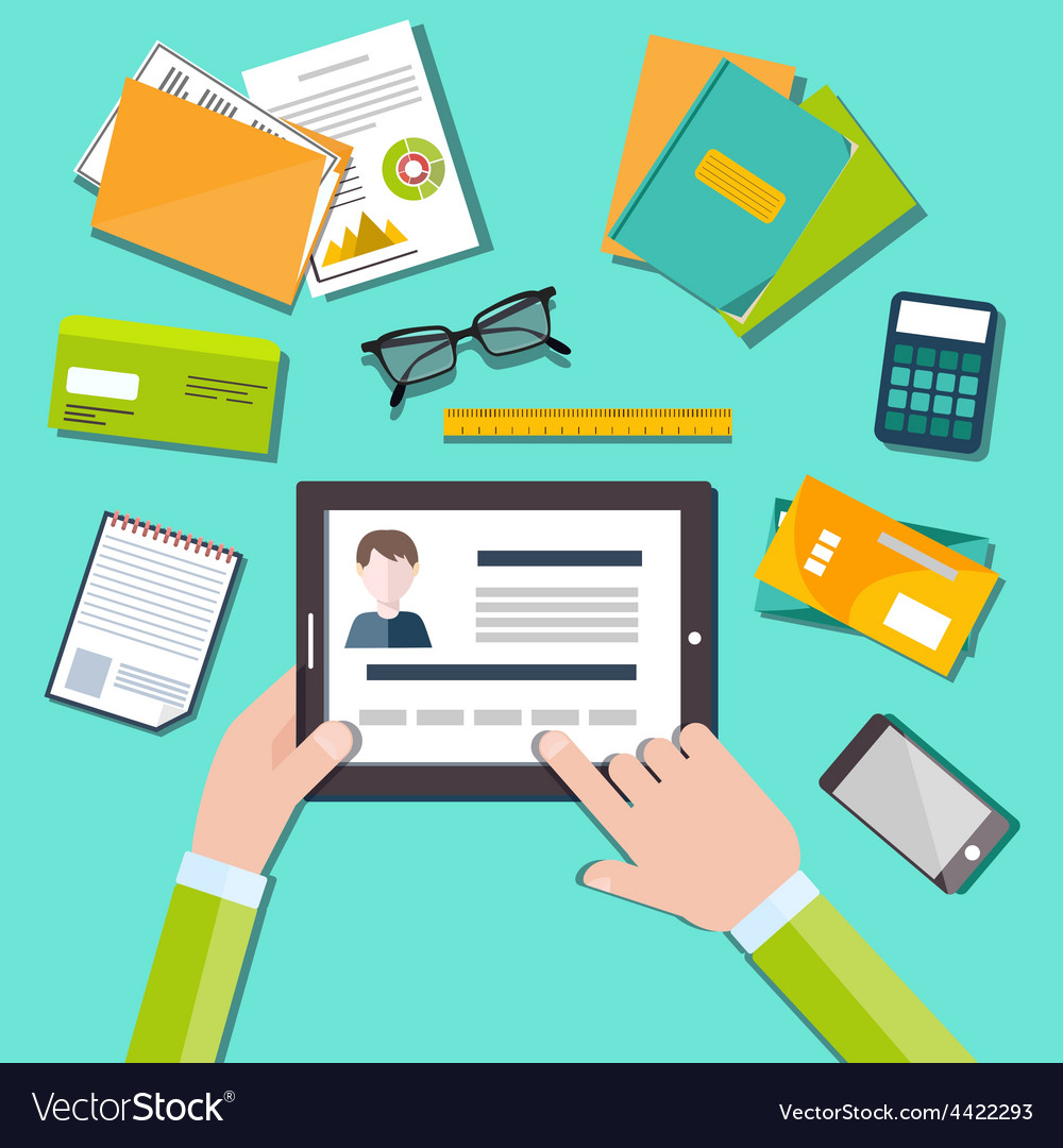 Hr manager working with cv concept vector