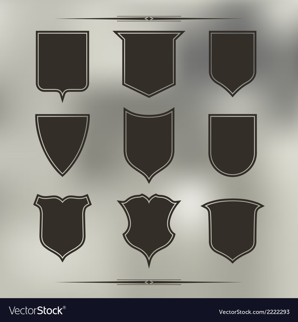 Set of nine different forms of shields vector