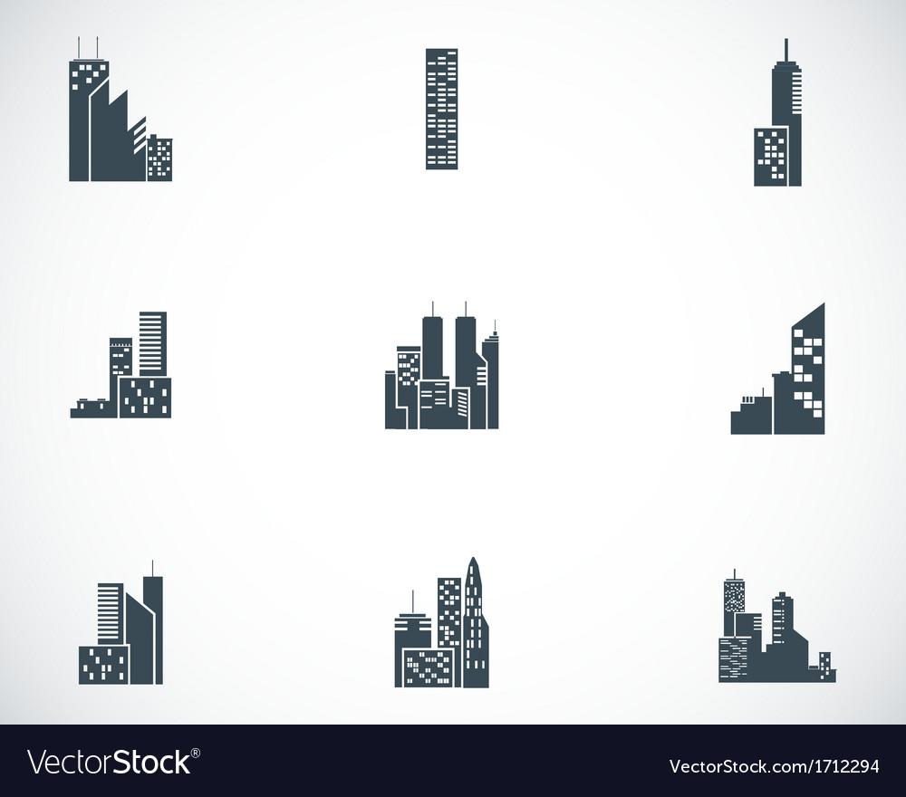 Black building icons set vector