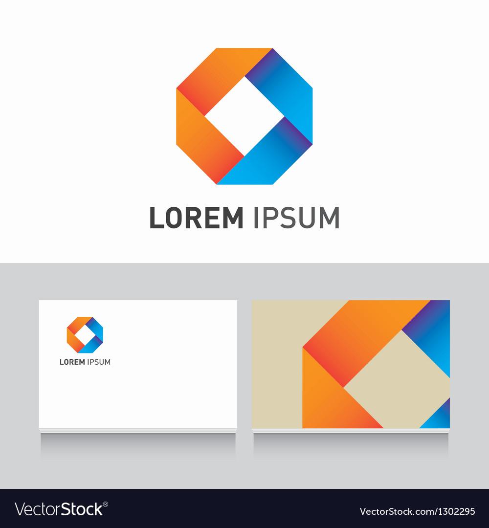 Logo company card ribbons vector
