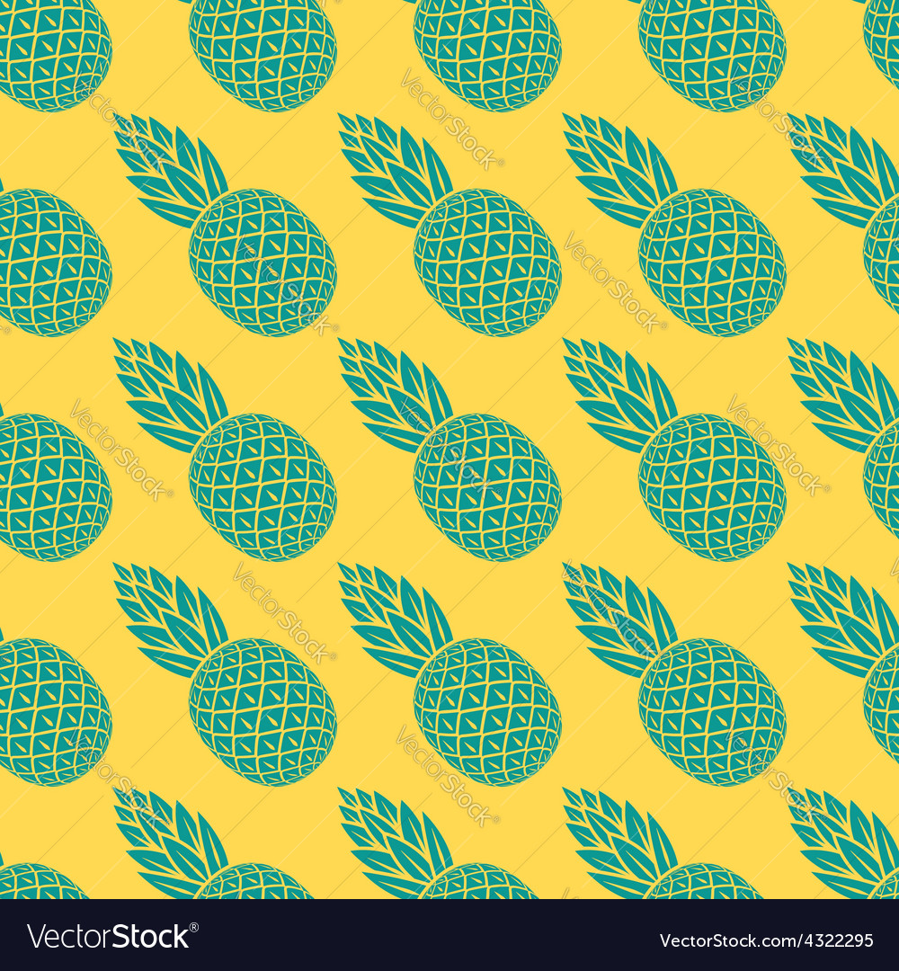 Pineapple tropical fruit seamless pattern vector