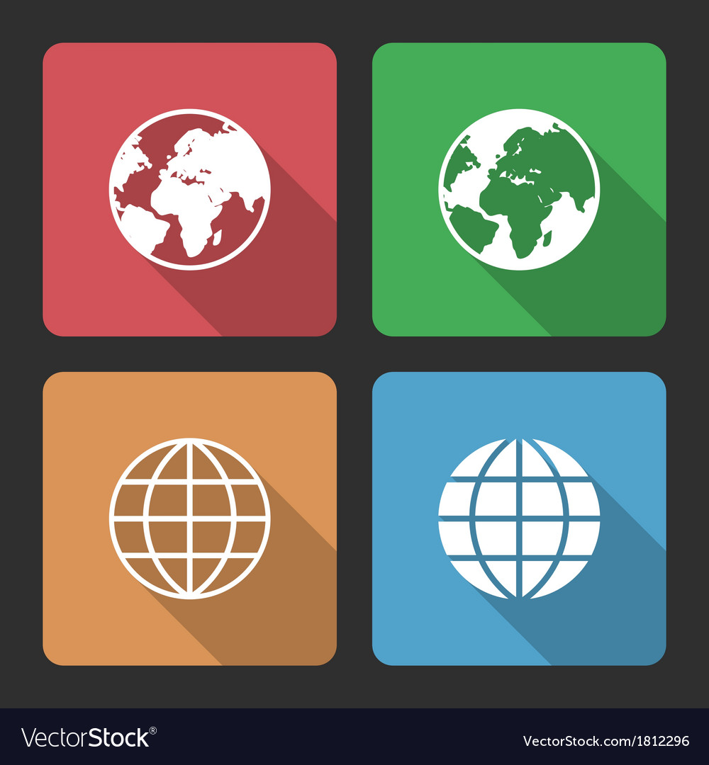 Globe earth icons with long shadow vector