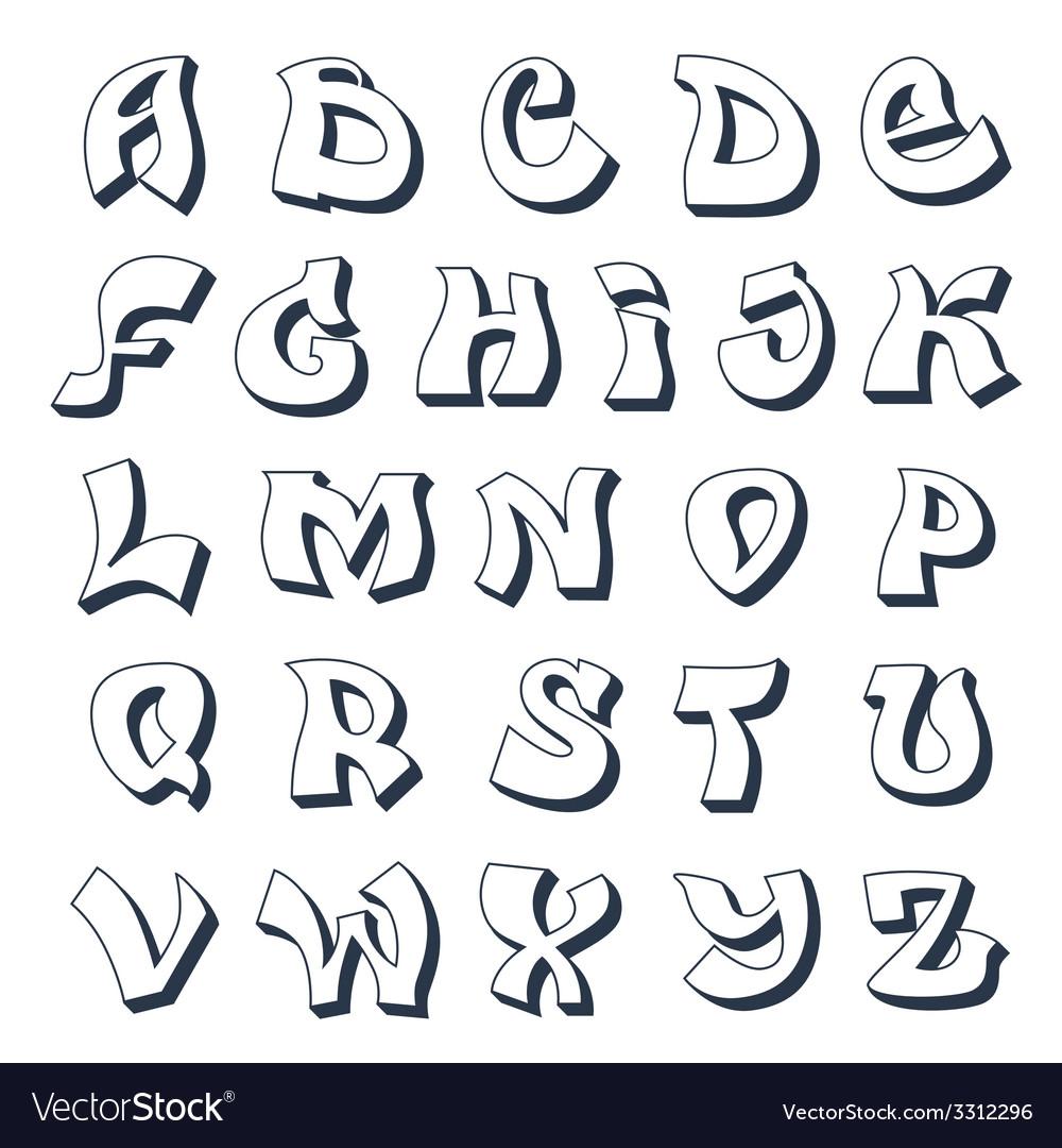 Graffiti alphabet white vector