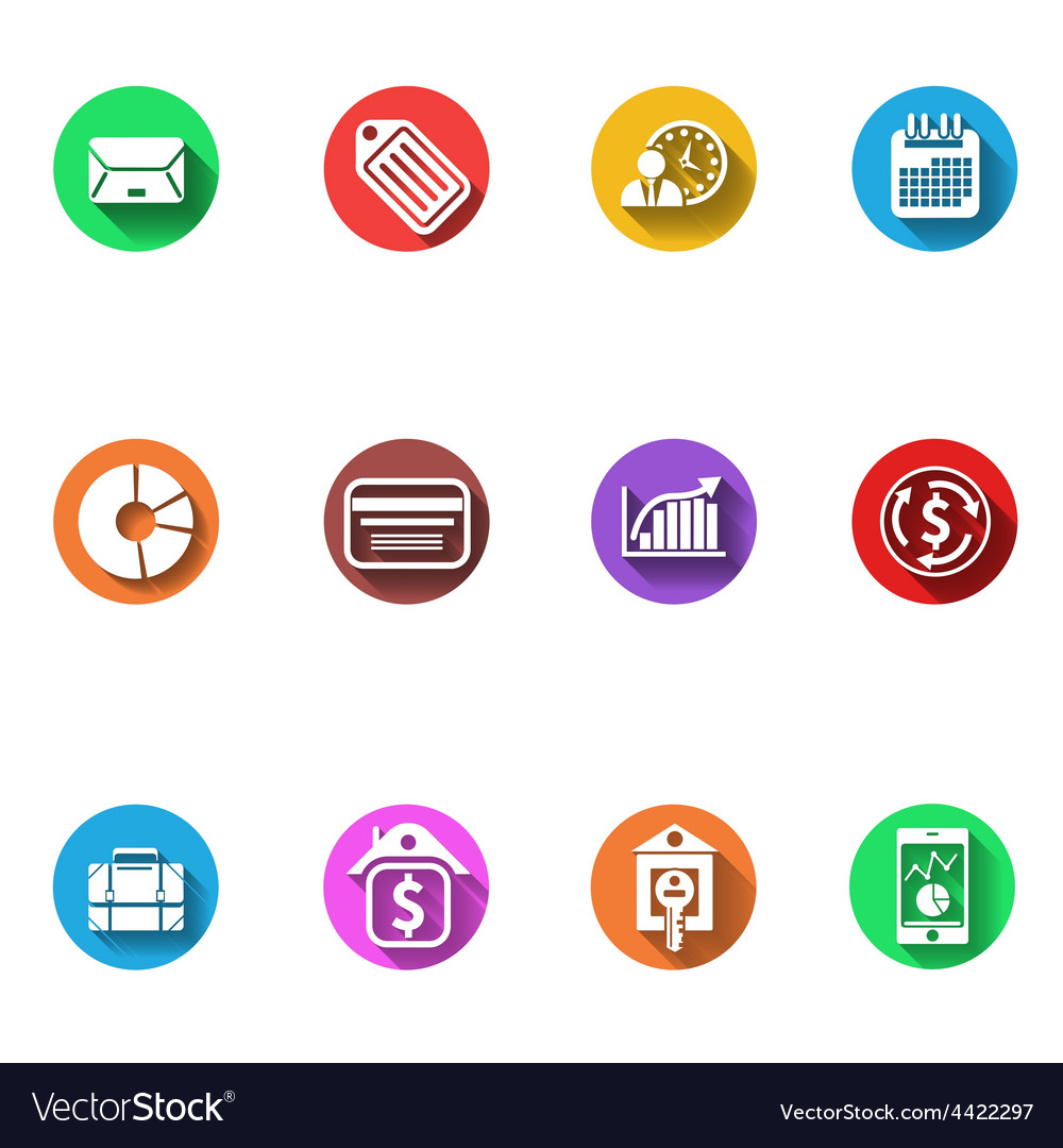 Business and finance flat design icons set vector