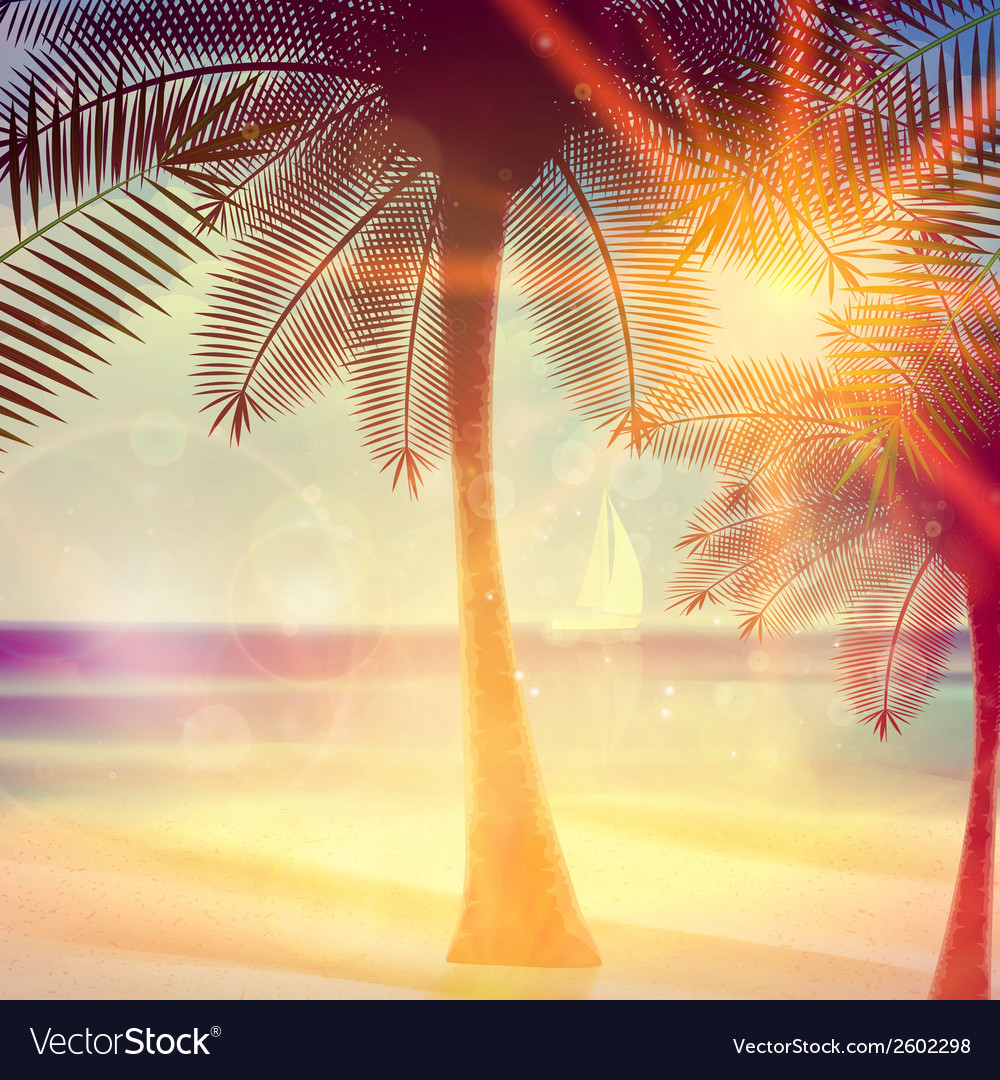 Vintage poster of tropical beach vector