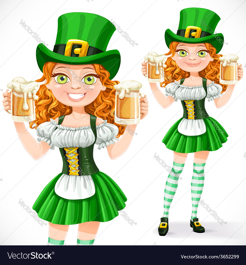 Beautiful girl leprechaun hold a two goblets of vector