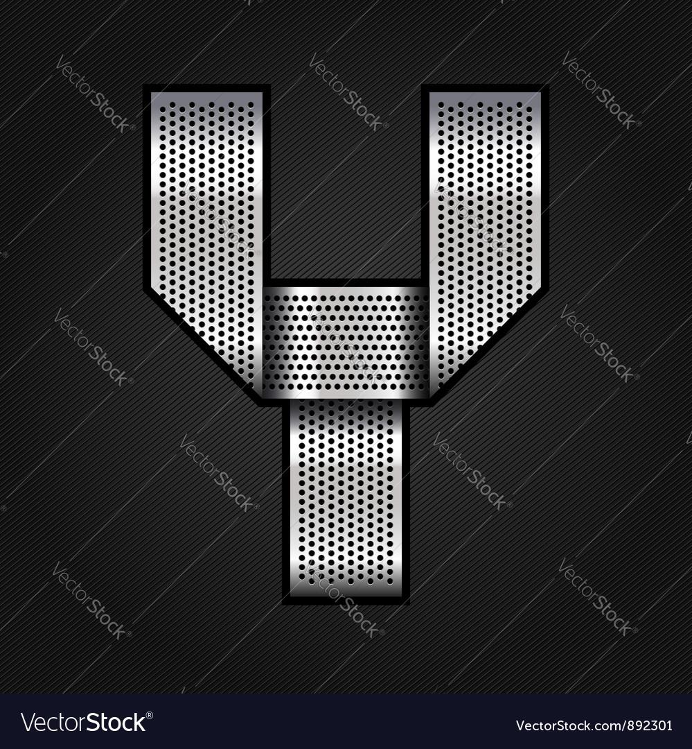 Letter metal chrome ribbon - y vector