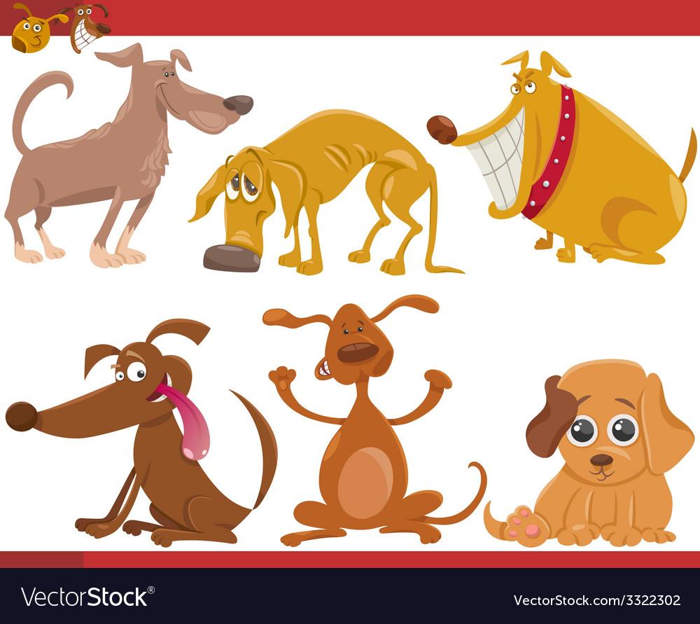 Happy dogs cartoon set vector