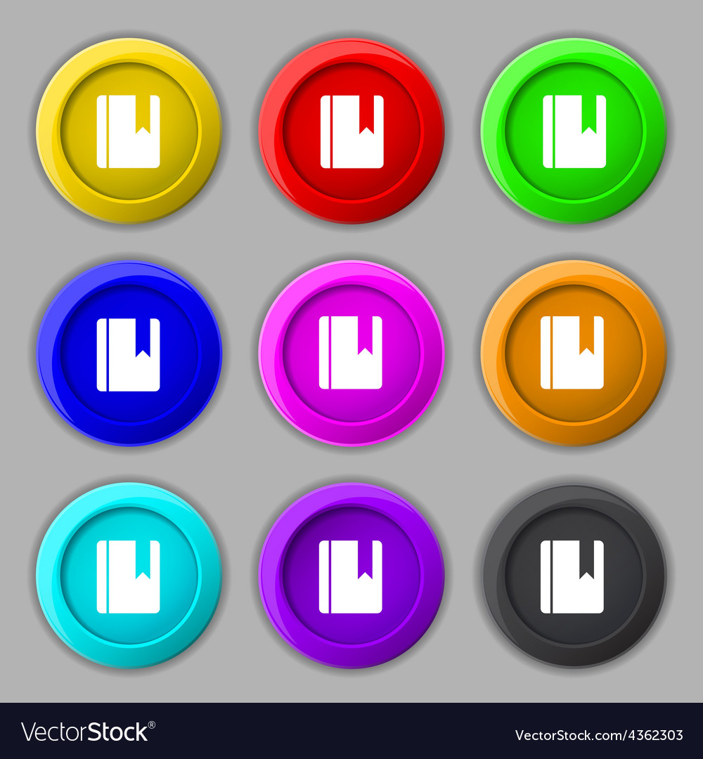 Book bookmark icon sign symbol on nine round vector