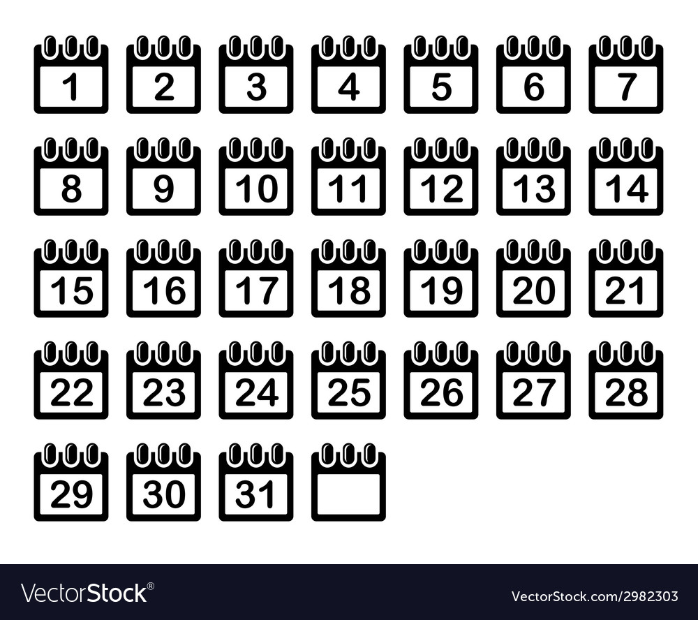 Simple calendar month icons set vector