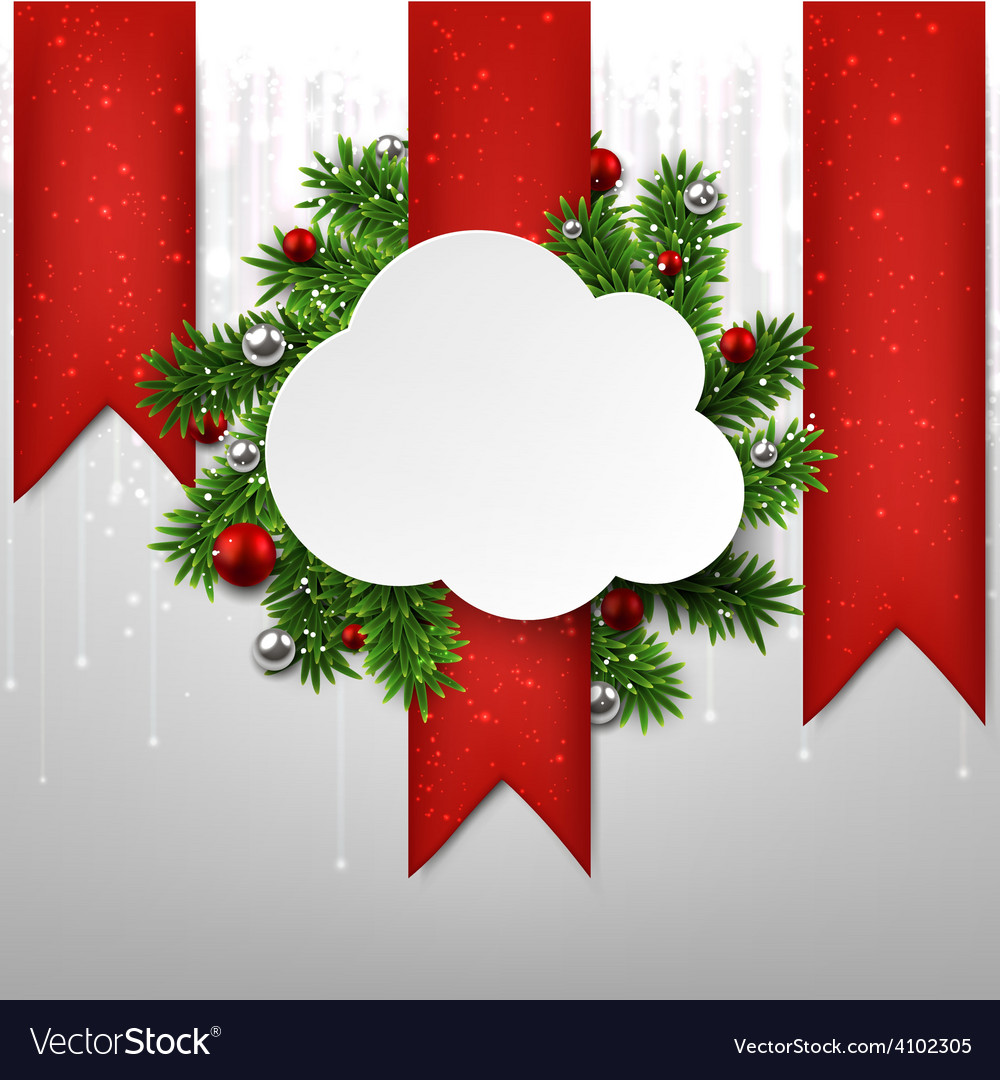 White cloud paper christmas card vector