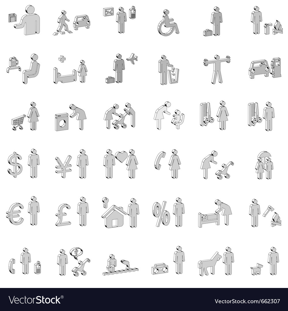 Website and internet 3d icons - people vector