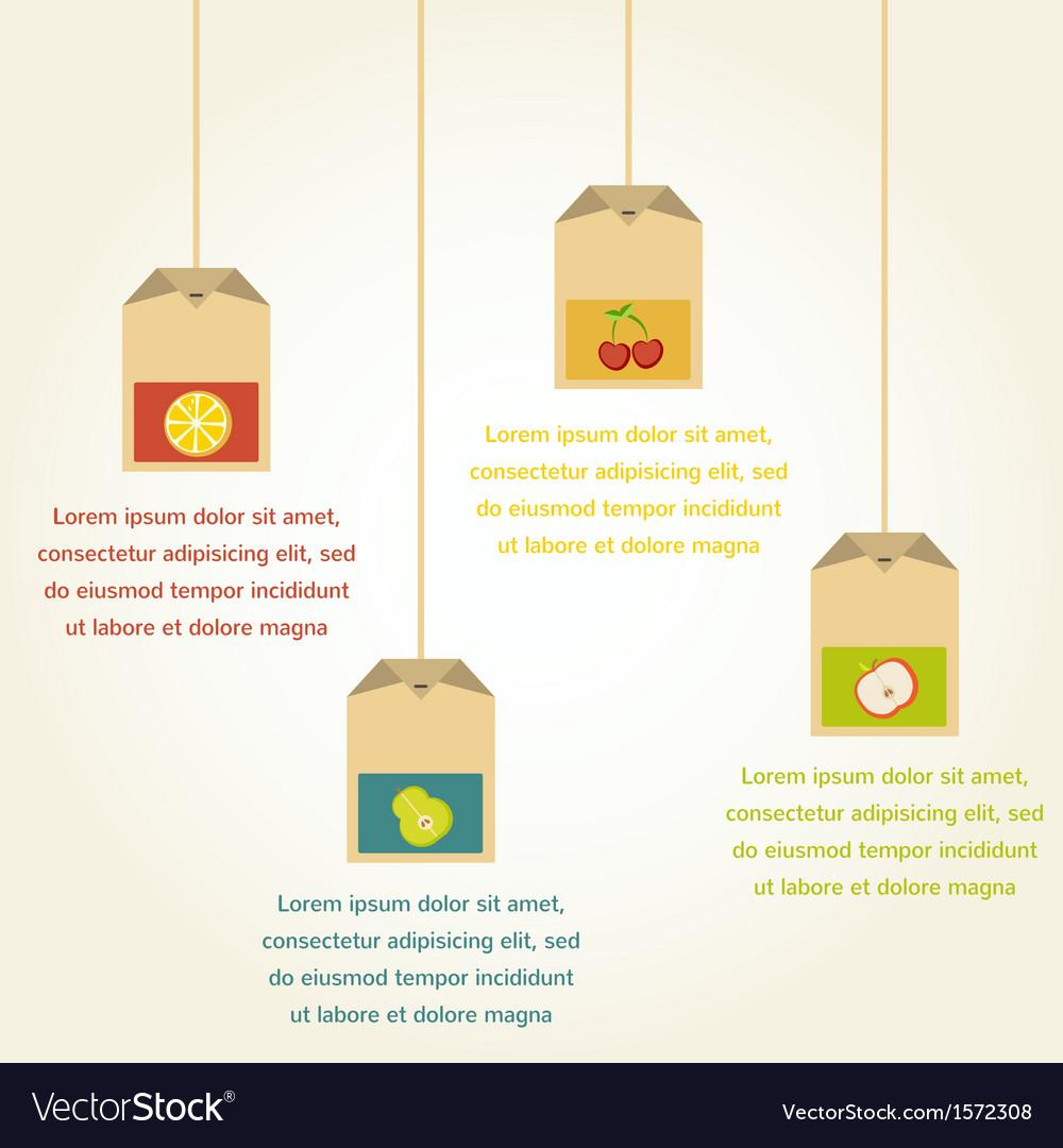 Tea bags with fruit flavor  infographics vector