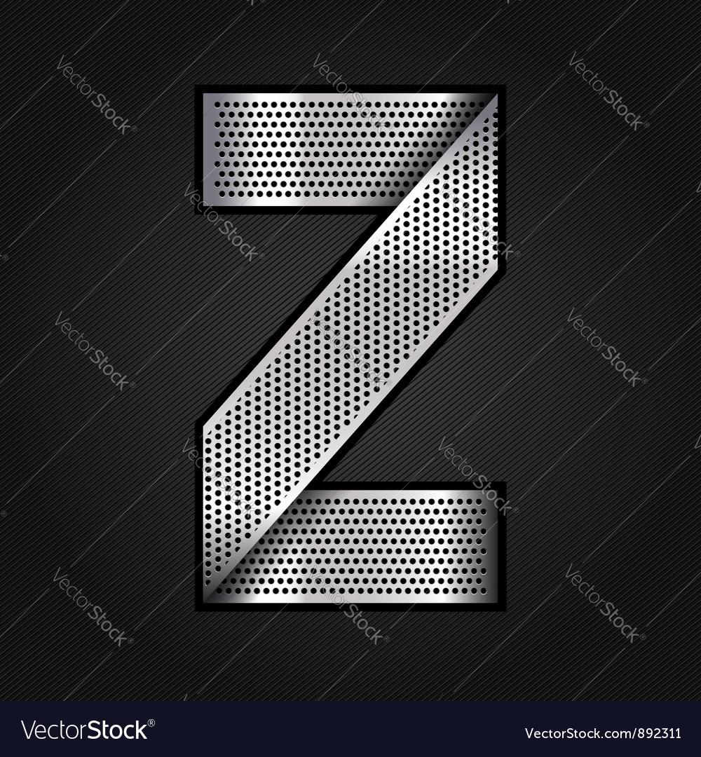 Letter metal chrome ribbon - z vector