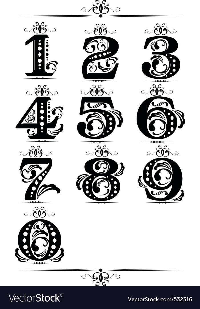 Decorative number element vector