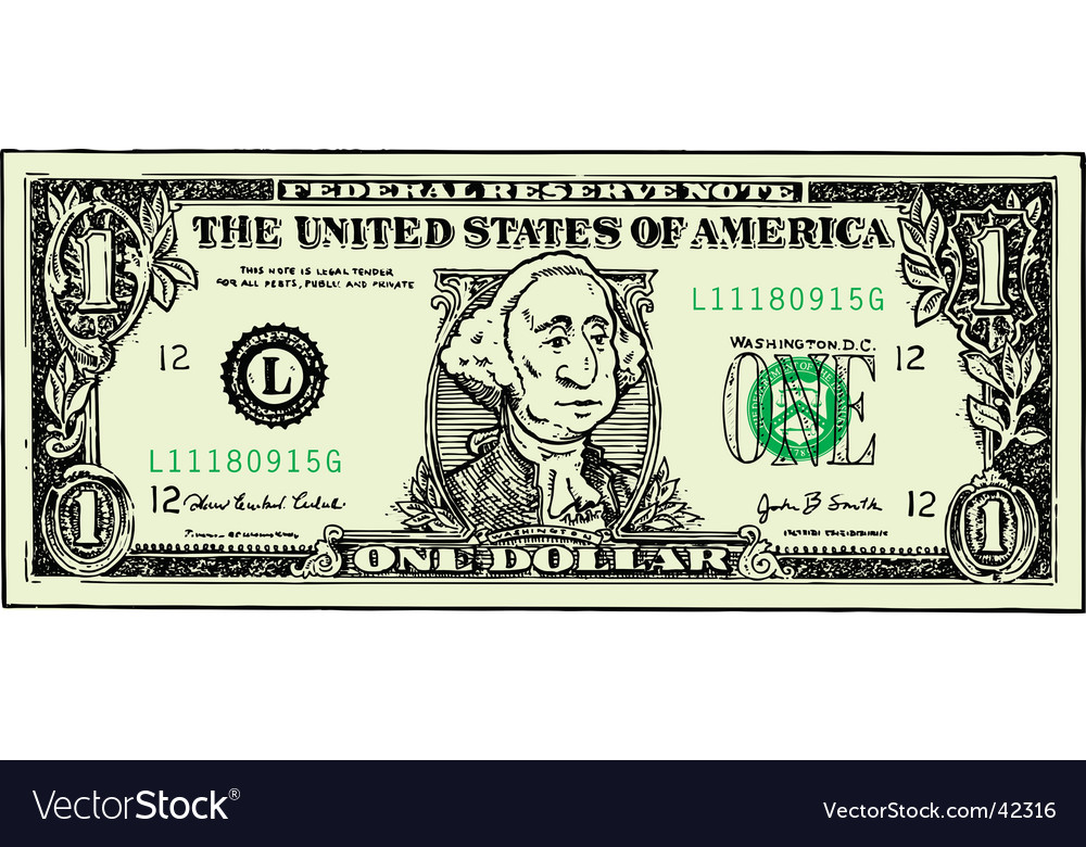 Dollar bill cartoon vector