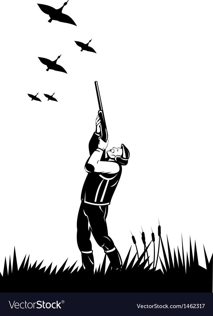 Hunter aiming shotgun rifle at duck vector