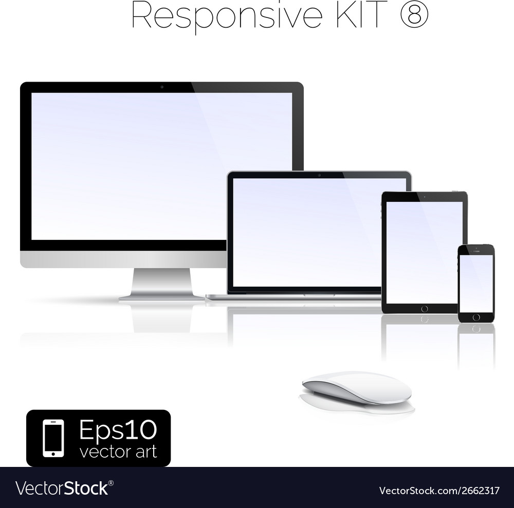 Modern laptop and glossy tablet and smartphone and vector