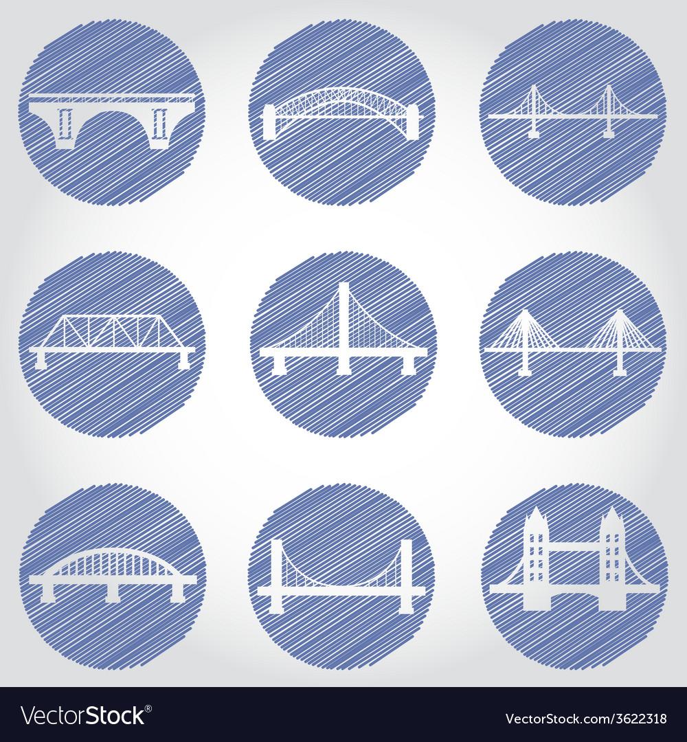 Isolated bridges big icons set vector