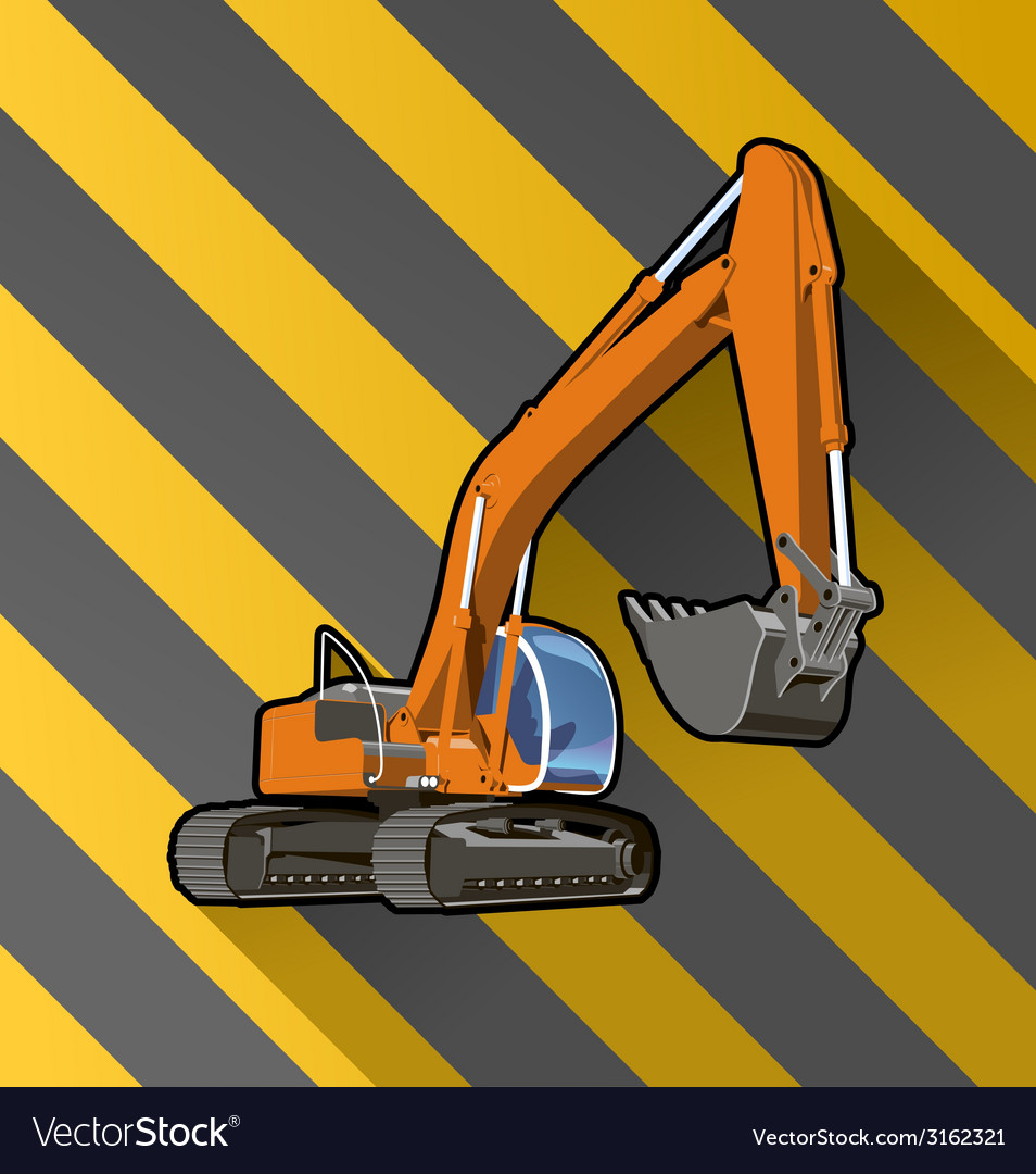 Excavator on black and yellow stripped vector