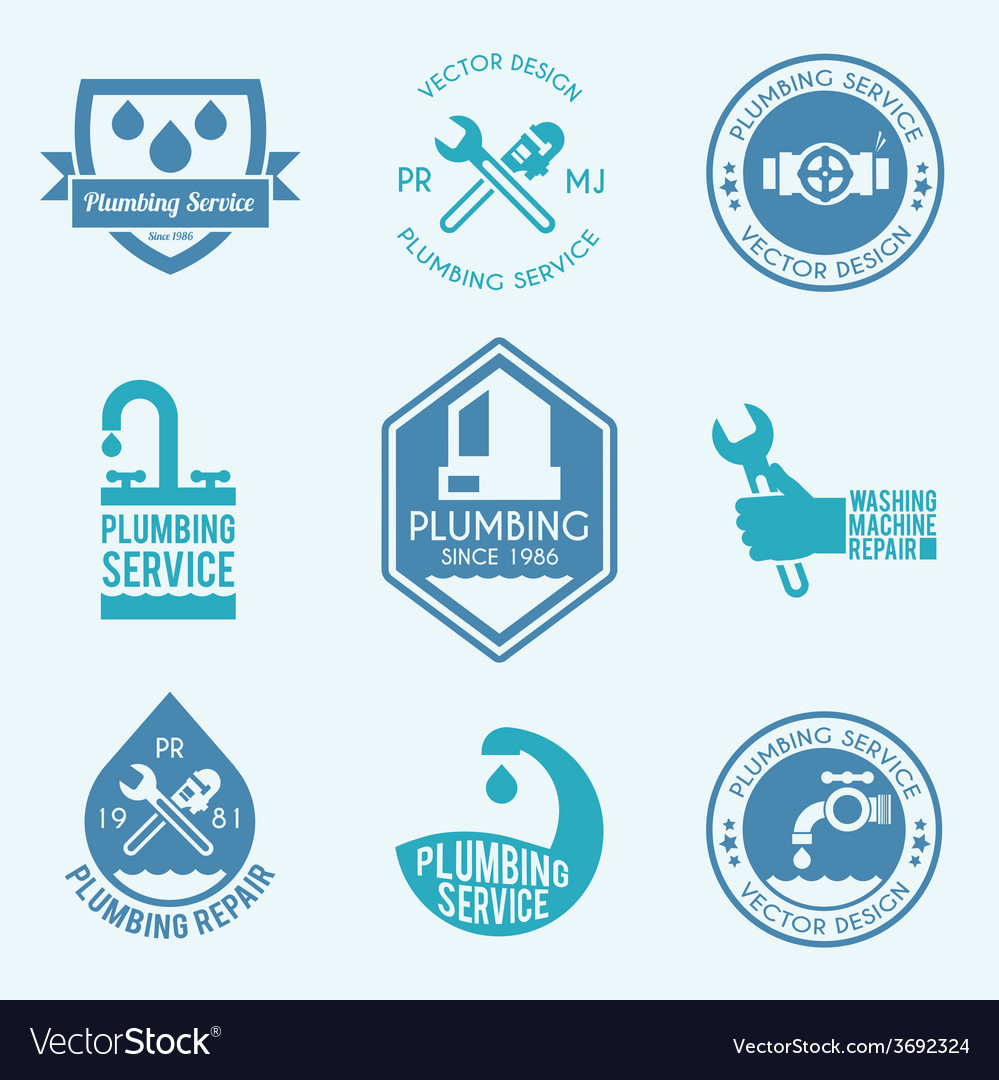 Plumbing labels icons set vector