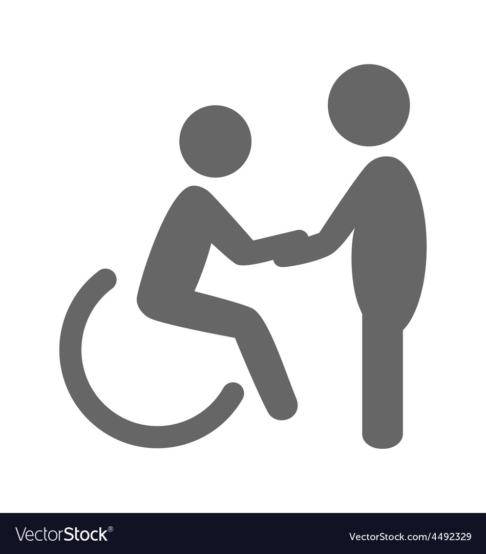 Disability man with helpmate pictogram flat icon vector
