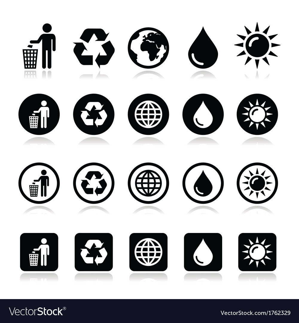 Man and bin recycling globe eco power icons set vector