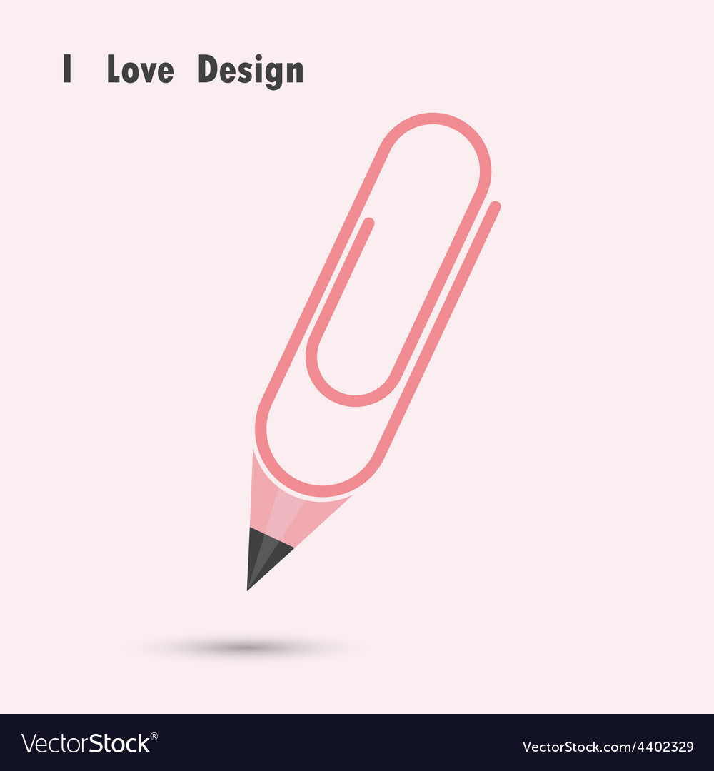 Pencil paper clip shape vector