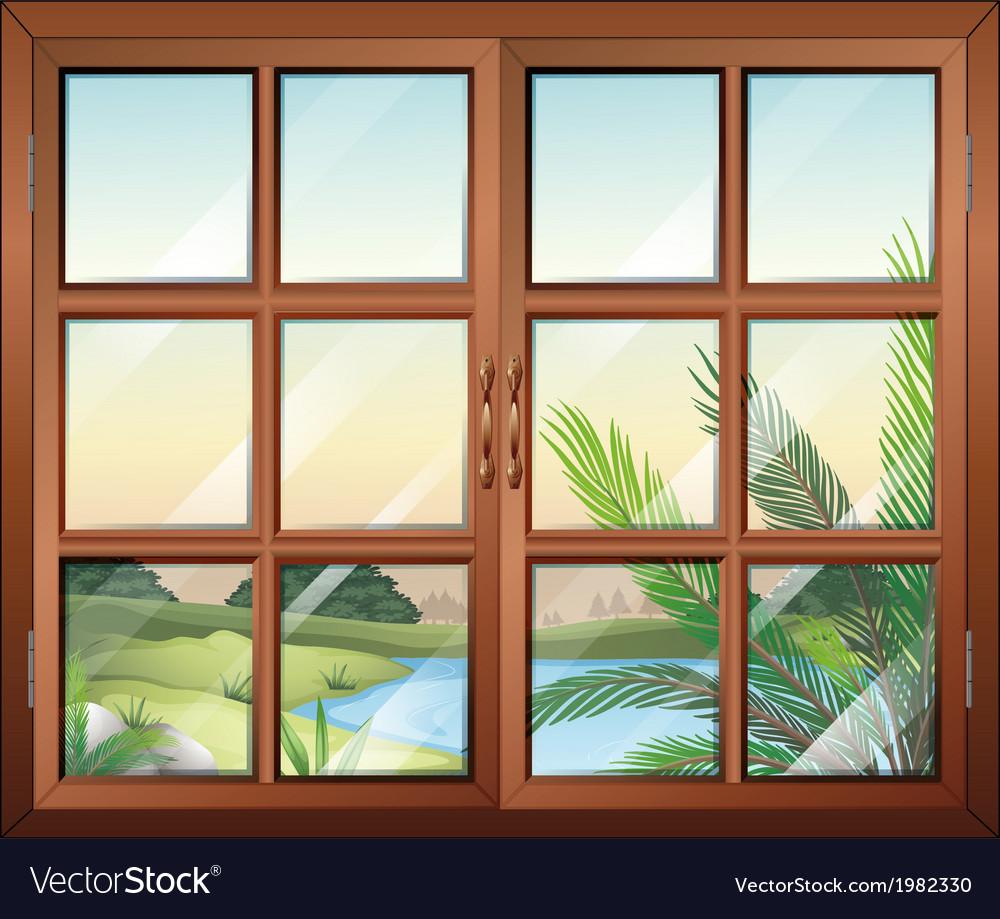 A closed window near the pond vector