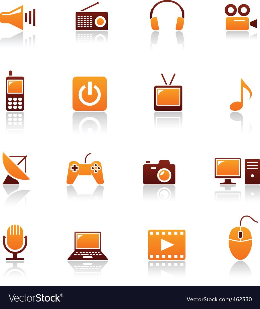 Media and telecom icons vector