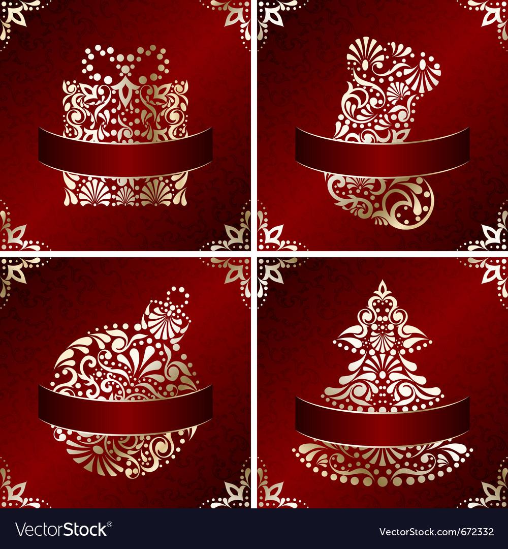 Elegant christmas cards vector