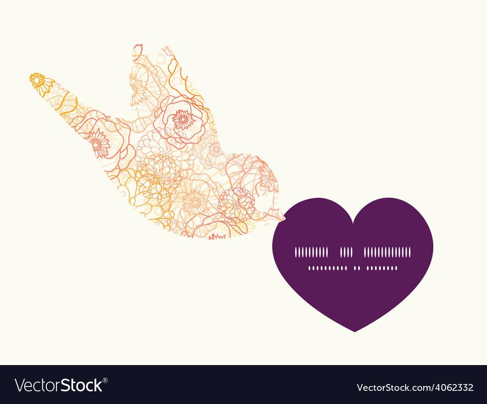 Warm flowers birds holding heart silhouette vector