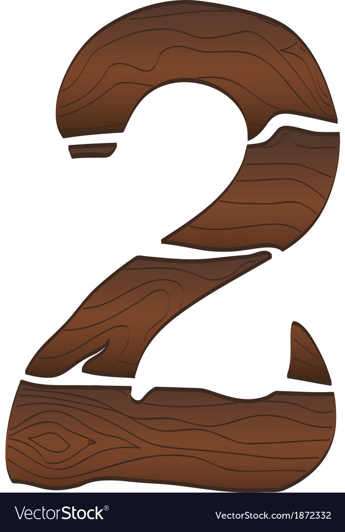 Wood numbers 2 isolated on the white vector