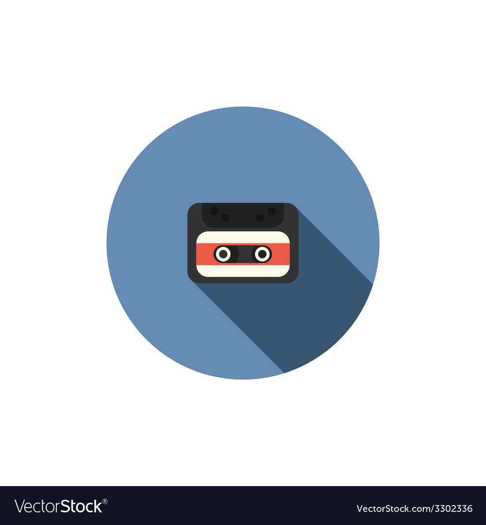 Old audio cassette tape icon vector