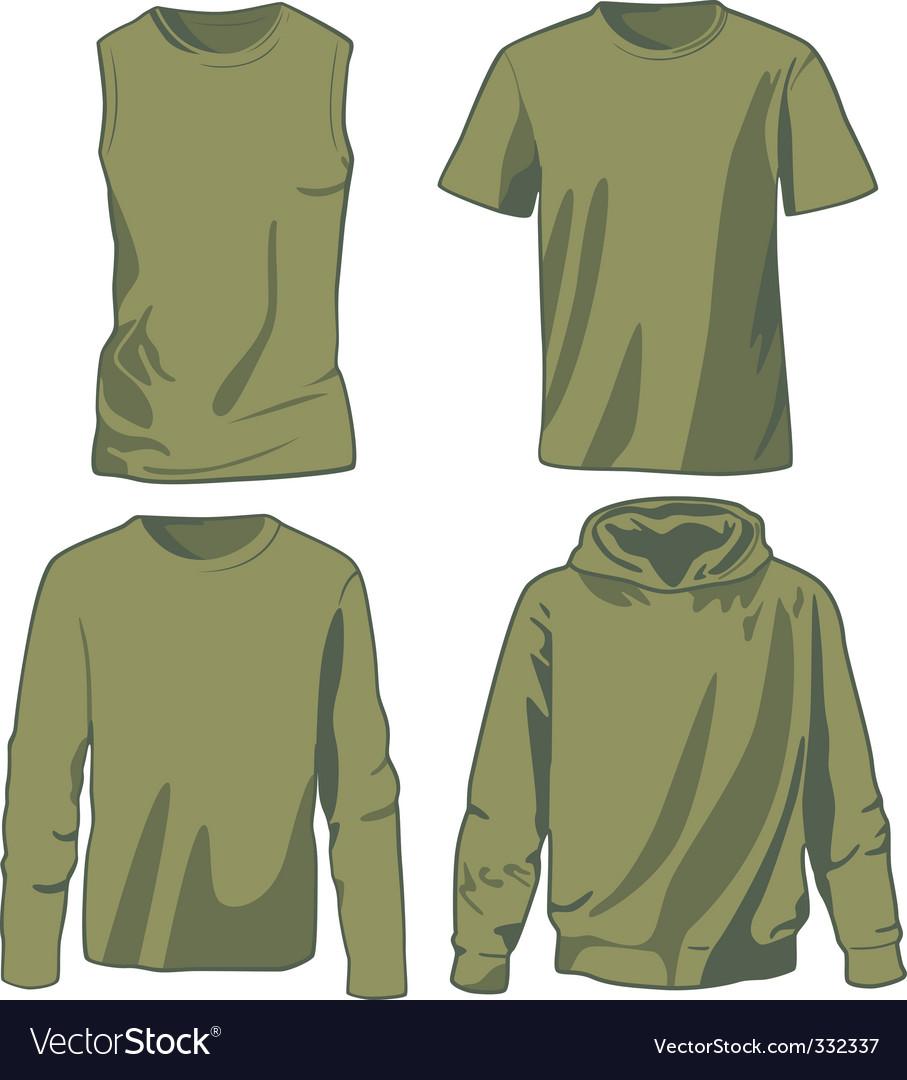 Set of khaki shirts vector