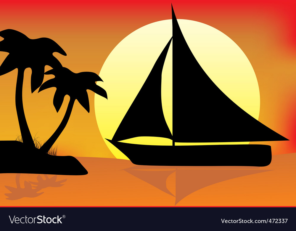 Silhouette paradise vector