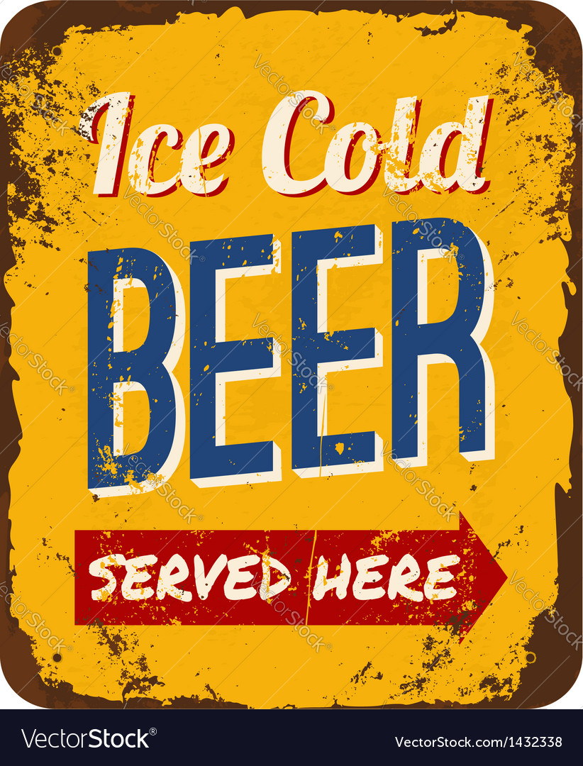 Vintage beer tin sign vector