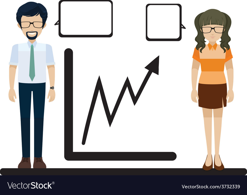 A line graph with a man and a woman vector