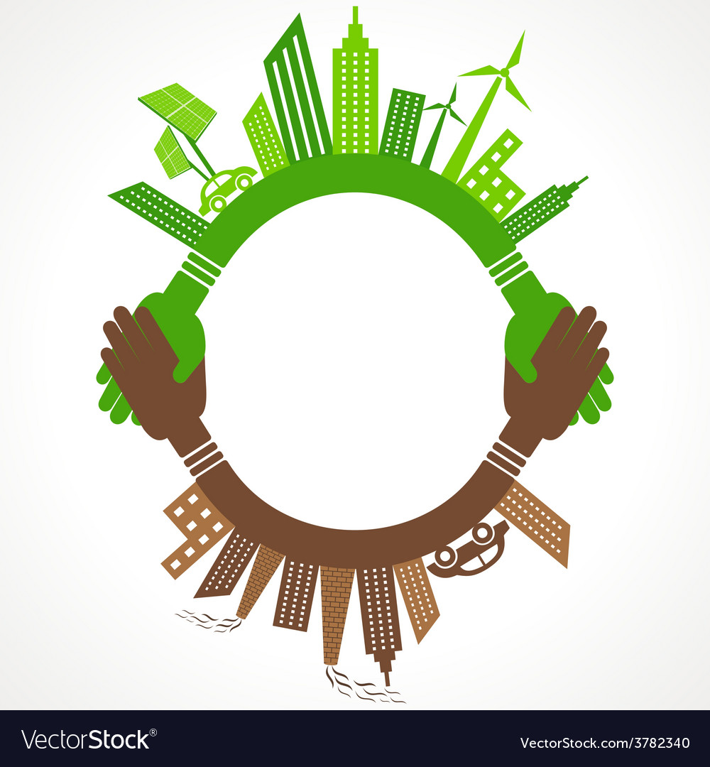 Ecology concept - eco and polluted cityscape vector