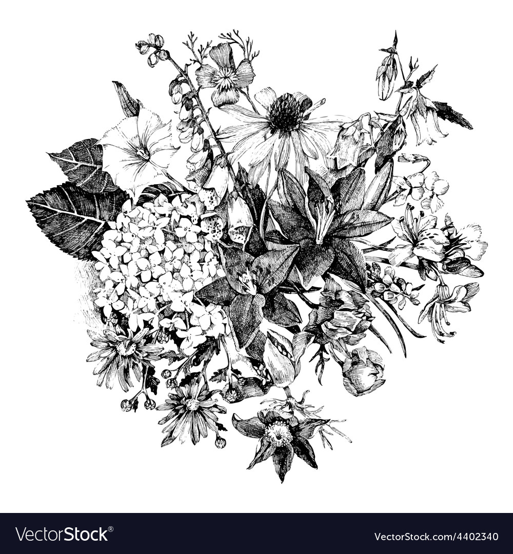 Hand drawn floral card vector
