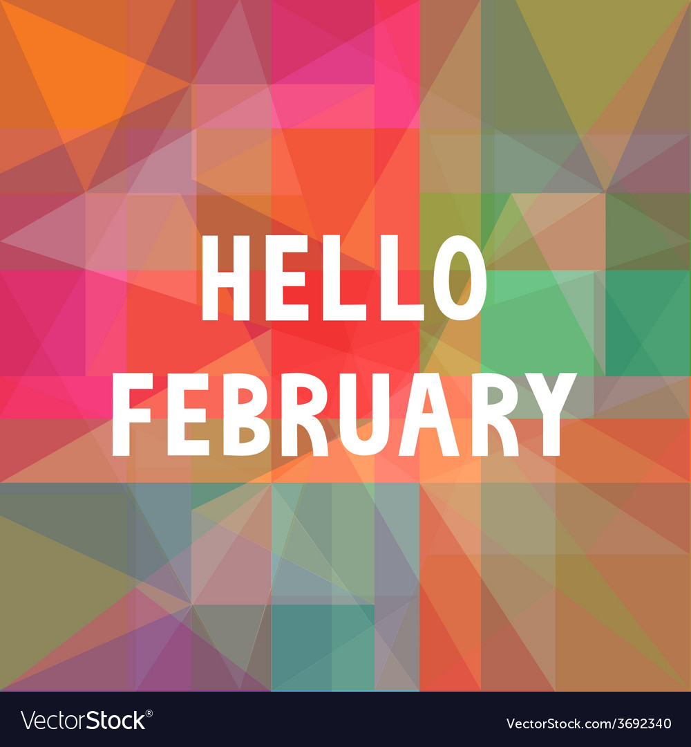 Hello february card1 vector